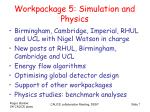 workpackage 5 simulation and physics