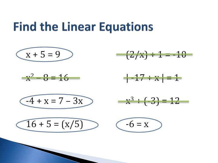 Find the Linear Equations