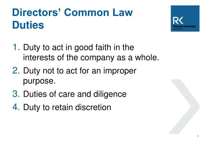 Directors' Common Law Duties