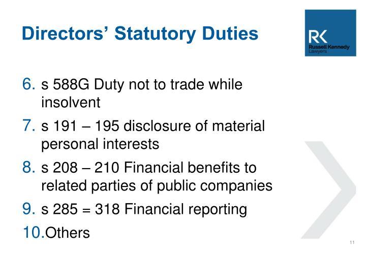 Directors' Statutory Duties