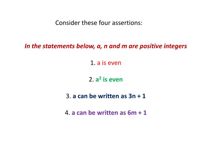 Consider these four assertions: