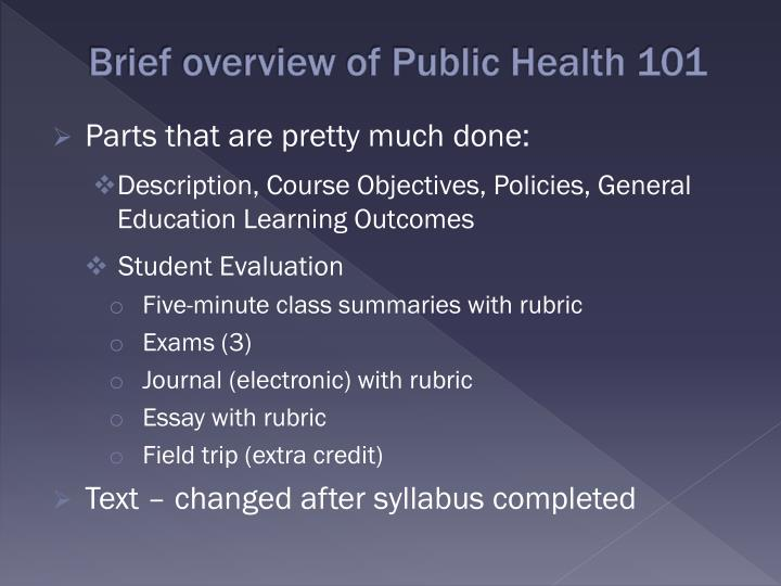 Brief overview of Public Health 101