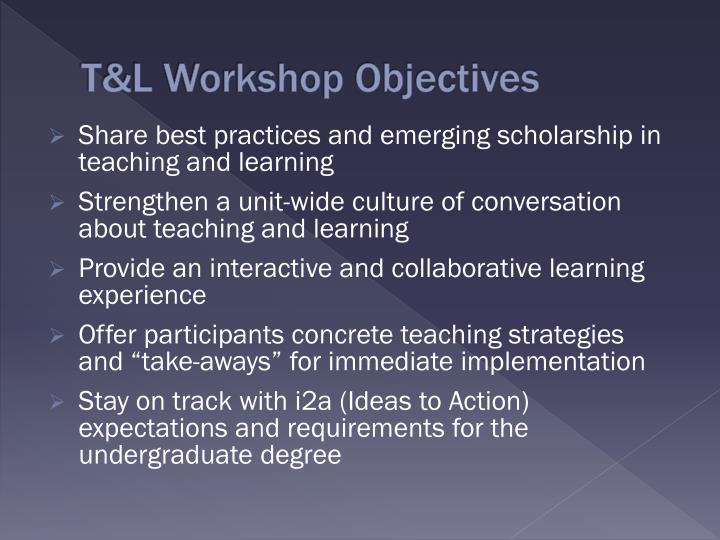 T l workshop objectives
