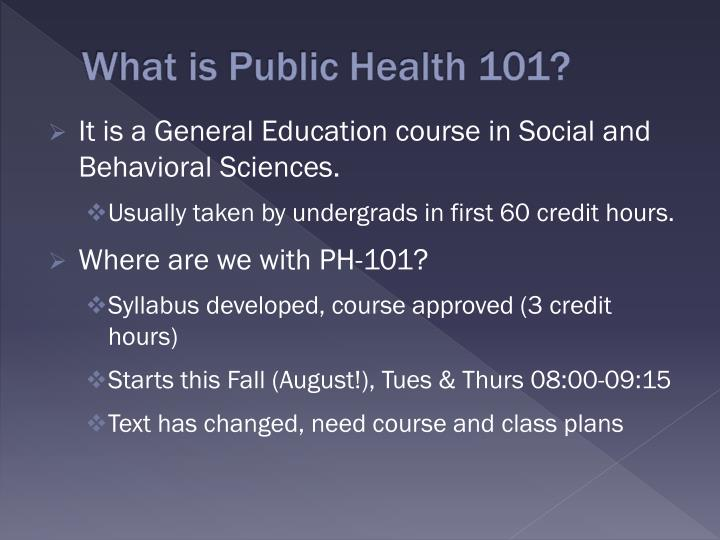 What is Public Health 101?