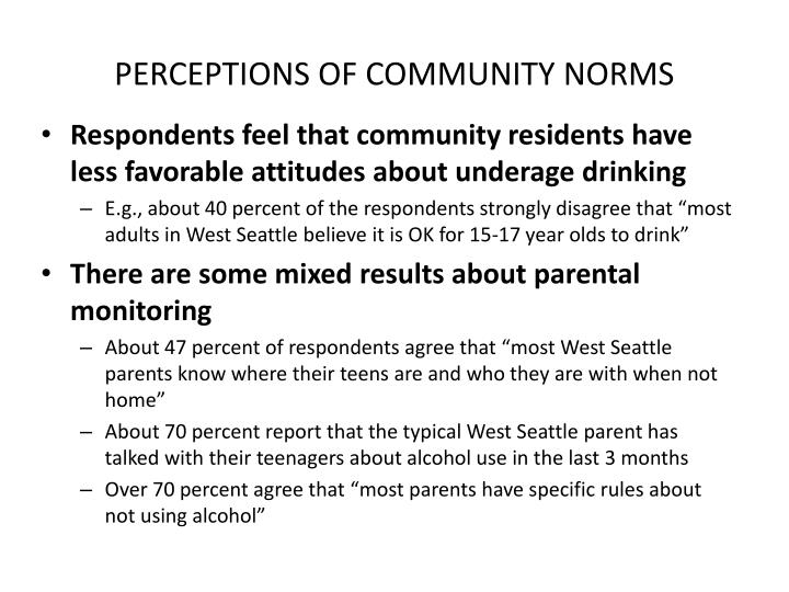 PERCEPTIONS OF COMMUNITY NORMS