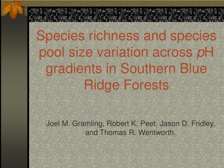Species richness and species pool size variation across