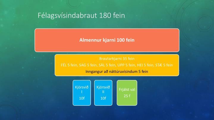 Félagsvísindabraut 180 fein