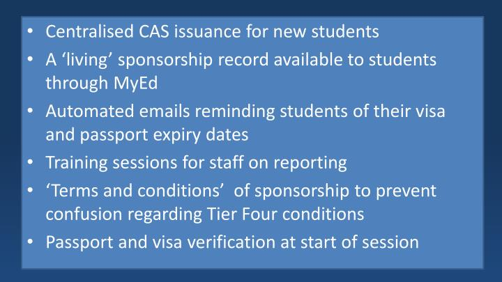 Centralised CAS issuance for new students