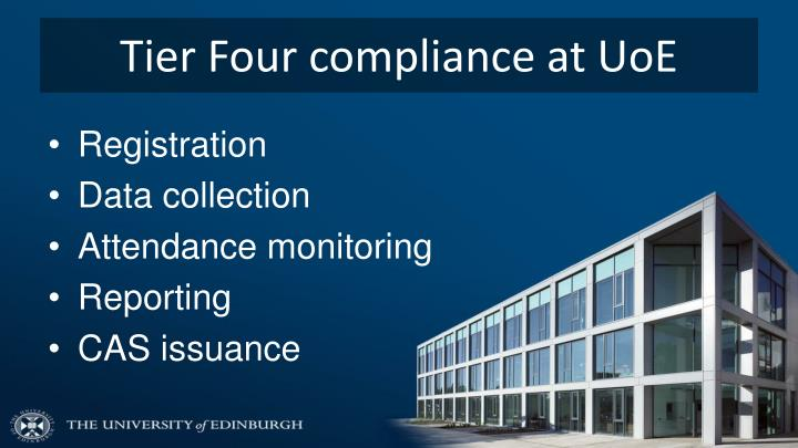 Tier Four compliance at UoE