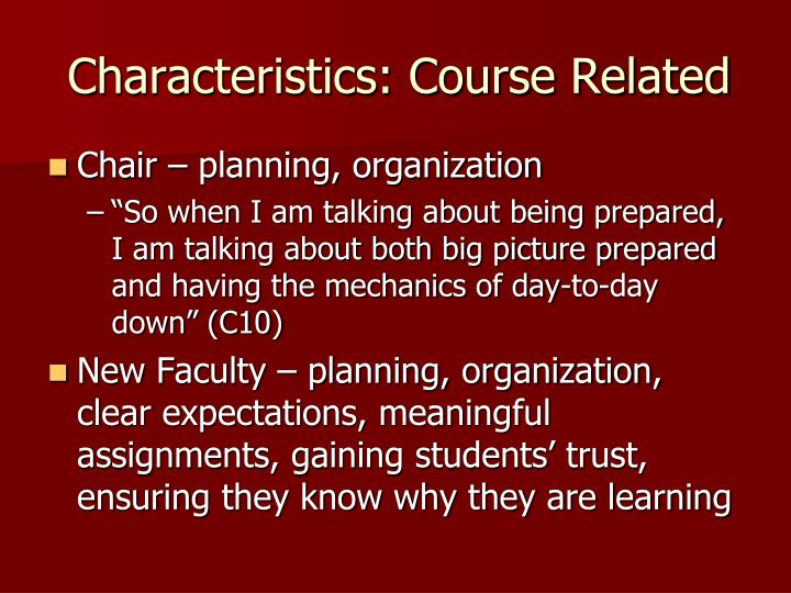 Characteristics: Course Related