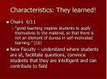 characteristics they learned
