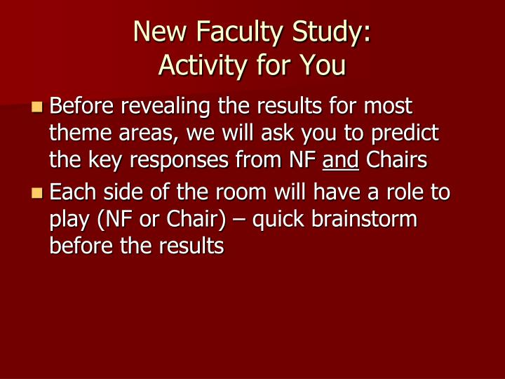 New Faculty Study: