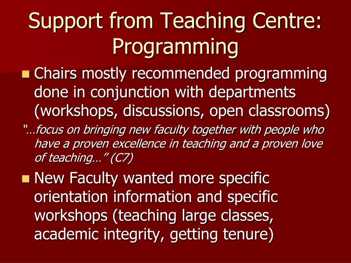 Support from Teaching Centre: Programming
