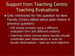support from teaching centre teaching evaluations