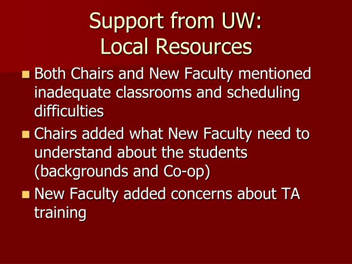 Support from UW: