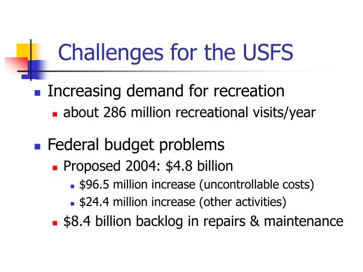 Challenges for the USFS