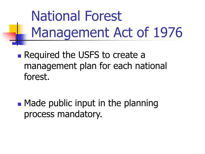 National Forest Management Act of 1976