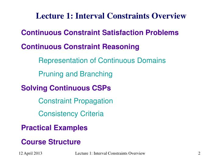 Continuous Constraint Reasoning
