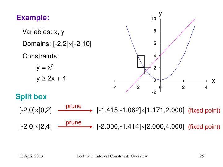 Variables: x, y