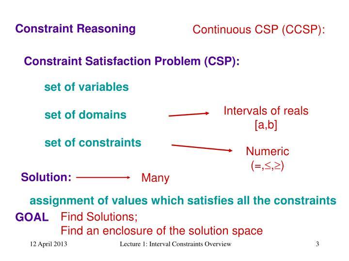 Continuous CSP (CCSP):