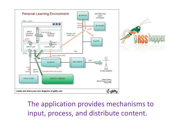 The application provides mechanisms to input, process, and distribute content.