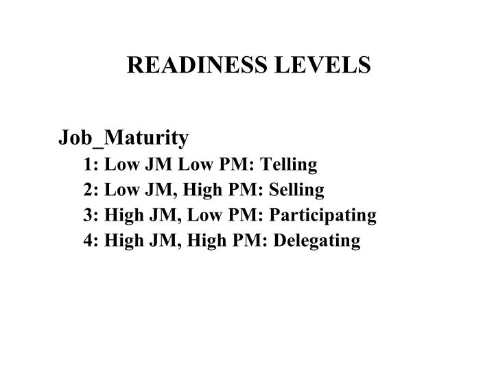Readiness levels