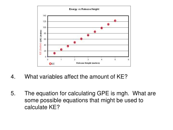 What variables affect the amount of KE?