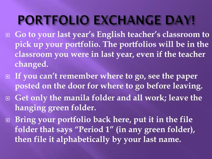 PORTFOLIO EXCHANGE DAY!