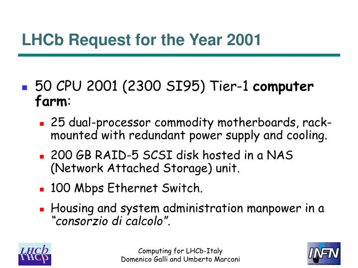 Lhcb request for the year 2001