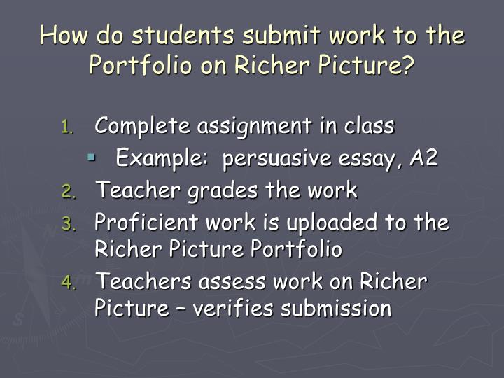 How do students submit work to the Portfolio on Richer Picture?