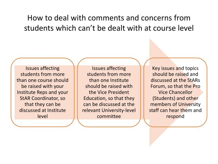 How to deal with comments and concerns from students which can't be dealt with at course level
