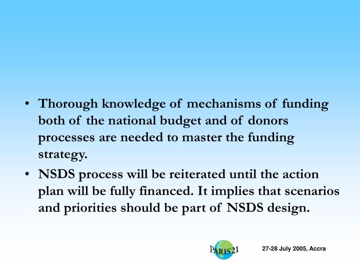 Thorough knowledge of mechanisms of funding both of the national budget and of donors processes are needed to master the funding strategy.