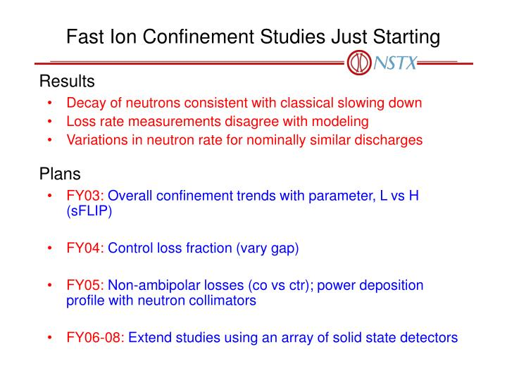 Fast Ion Confinement Studies Just Starting