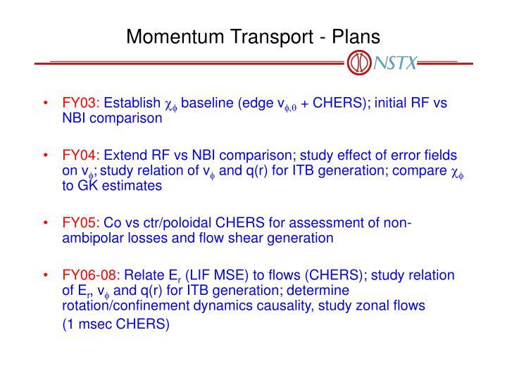 Momentum Transport - Plans