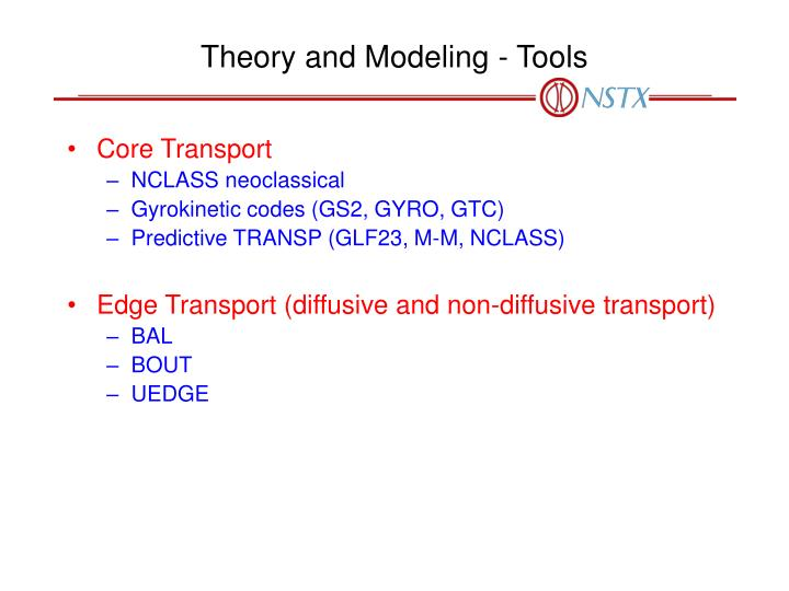 Theory and Modeling - Tools