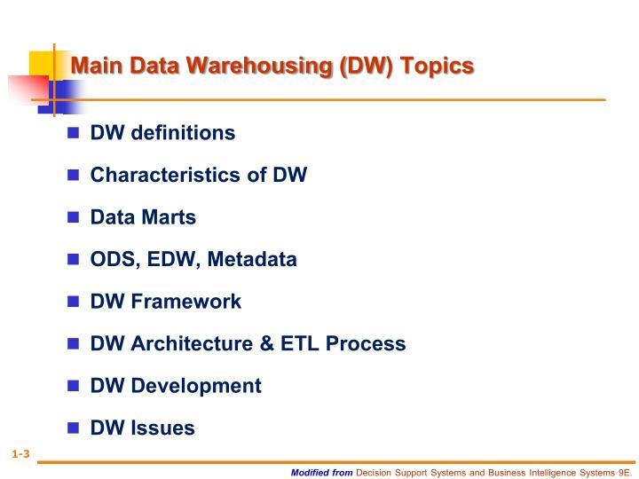 Main Data Warehousing (