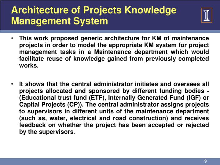 Architecture of Projects Knowledge Management System