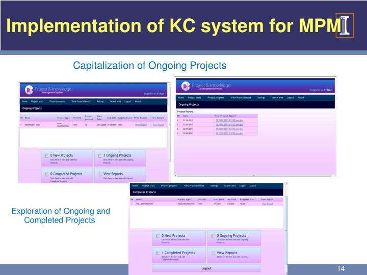 Implementation of KC system for MPM