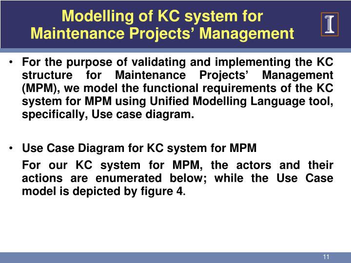 Modelling of KC system for Maintenance Projects' Management
