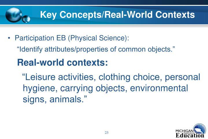 Key Concepts/Real-World Contexts