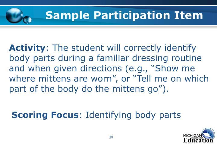 Sample Participation Item