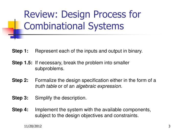 Review design process for combinational systems