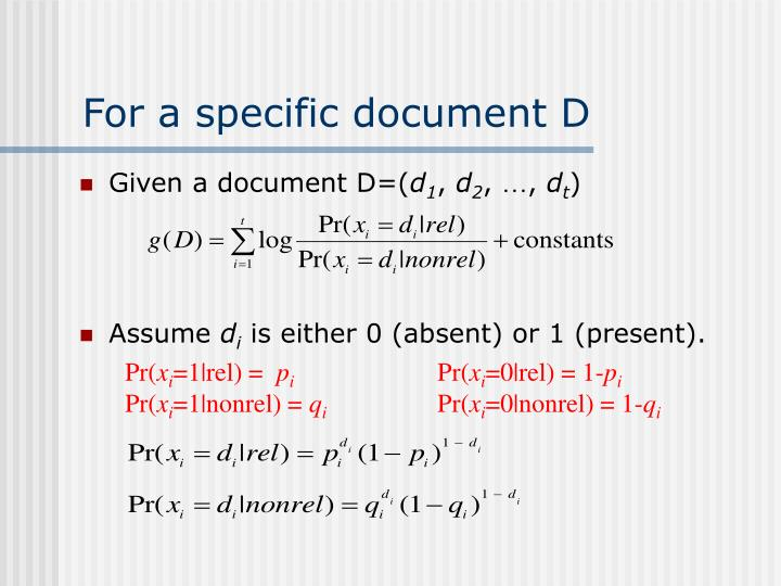 Given a document D=(