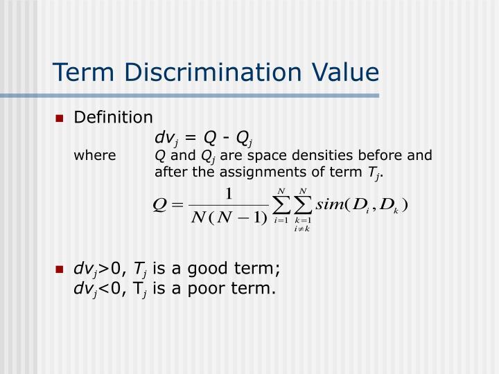 Term Discrimination Value