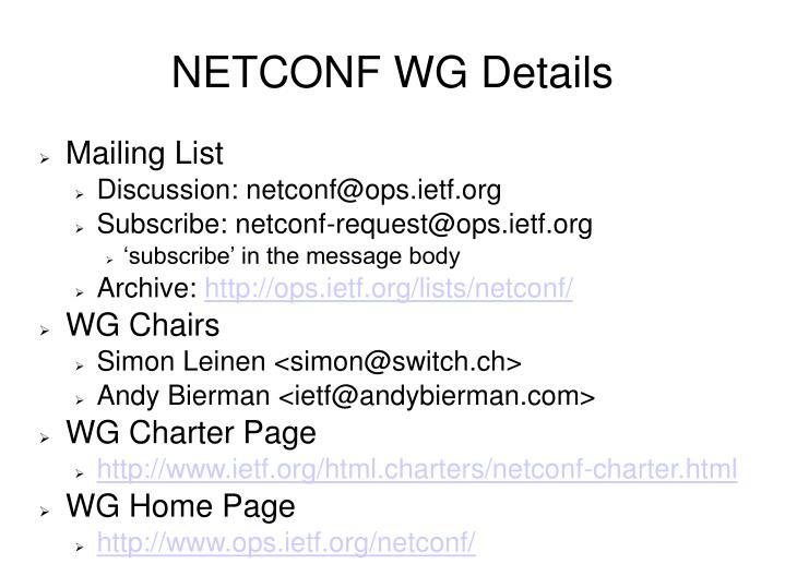 NETCONF WG Details