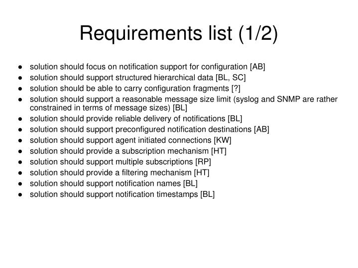 Requirements list (1/2)