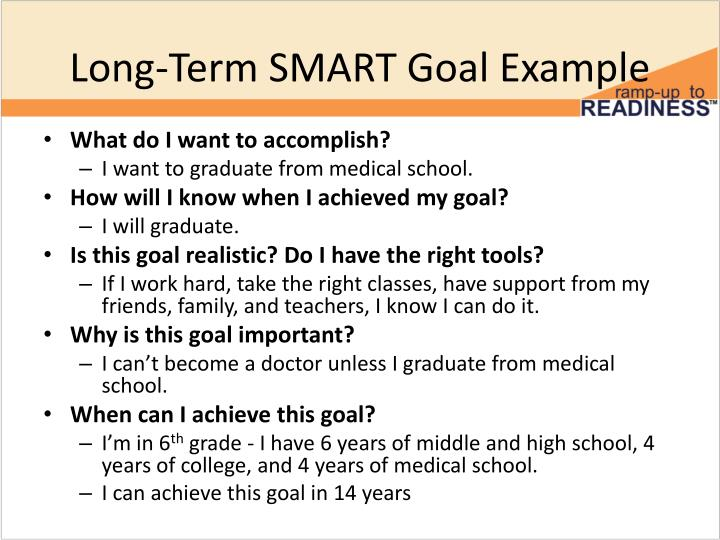 Long-Term SMART Goal Example