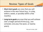 review types of goals