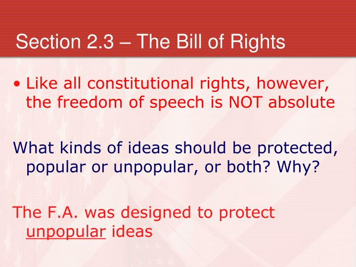 Section 2.3 – The Bill of Rights