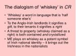the dialogism of whiskey in cr3